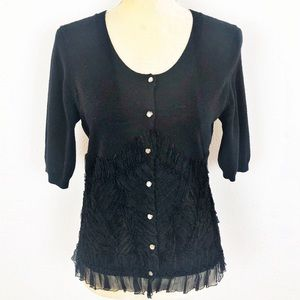 Anthropologie Knitted & Knotted Black Wool Sweater